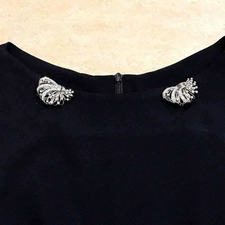 6.50 Carat Diamond Platinum and 14 Karat Double Clip Brooch For Sale 9