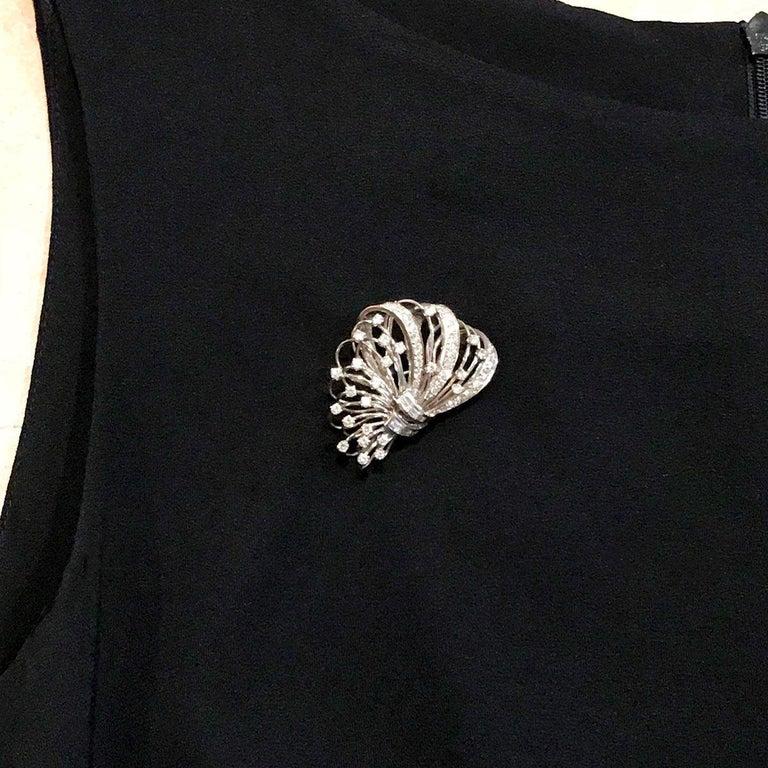 6.50 Carat Diamond Platinum and 14 Karat Double Clip Brooch For Sale 10