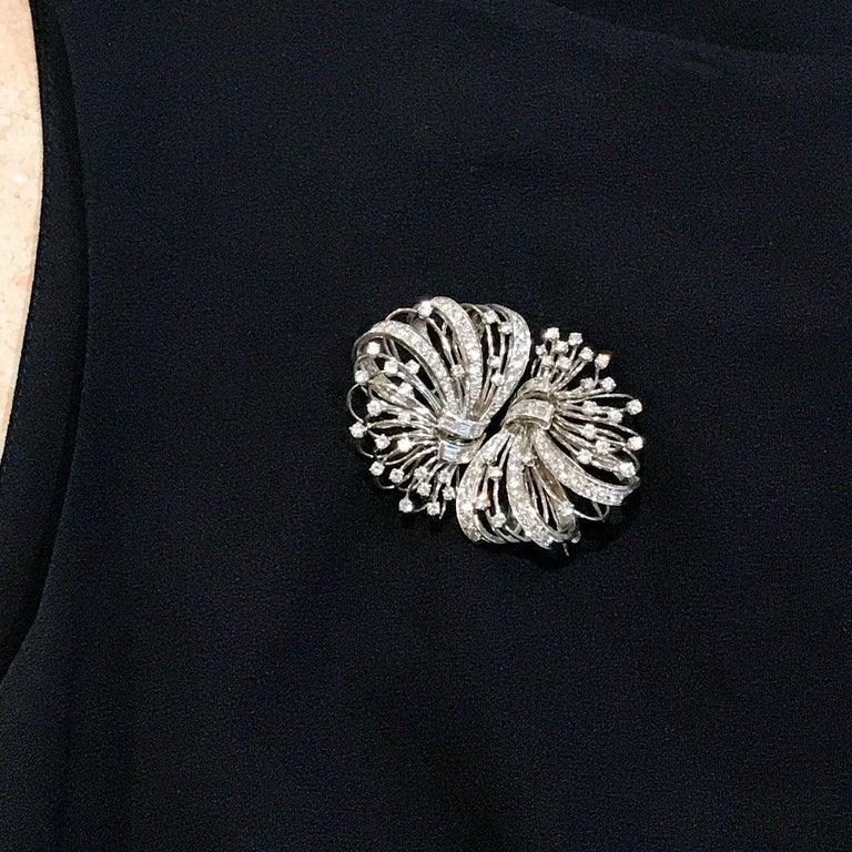 6.50 Carat Diamond Platinum and 14 Karat Double Clip Brooch For Sale 11