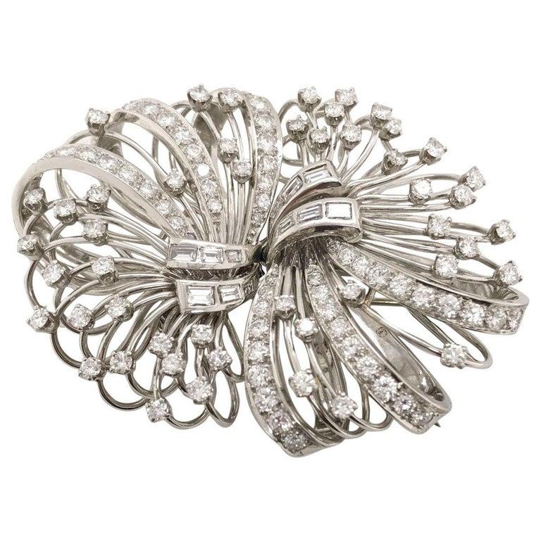 Round Cut 6.50 Carat Diamond Platinum and 14 Karat Double Clip Brooch For Sale