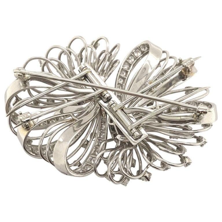 Women's 6.50 Carat Diamond Platinum and 14 Karat Double Clip Brooch For Sale
