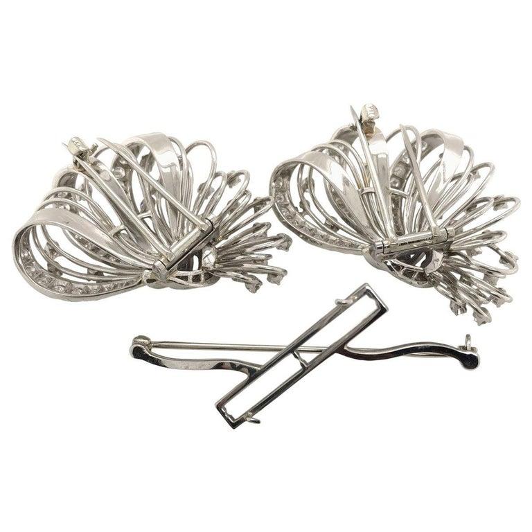 6.50 Carat Diamond Platinum and 14 Karat Double Clip Brooch For Sale 3