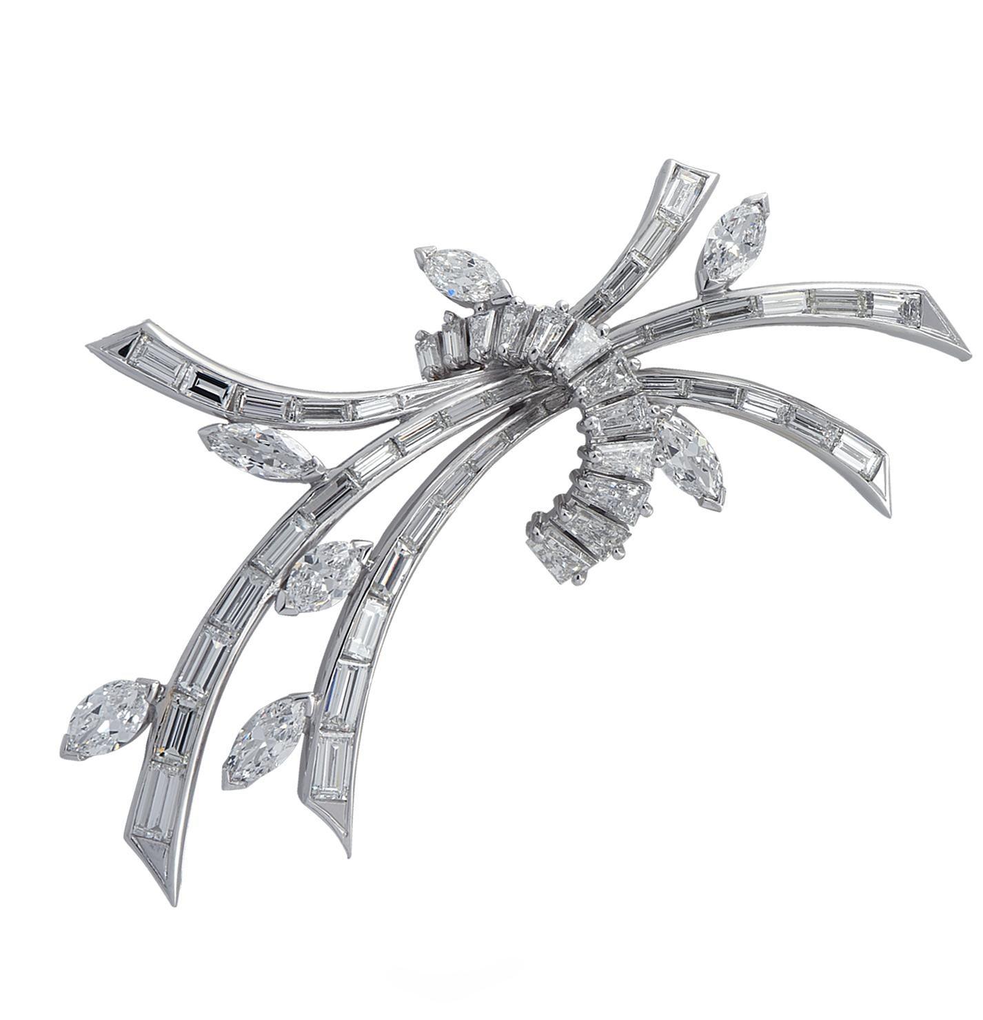 6.50 Carat Diamond Platinum Brooch Pin
