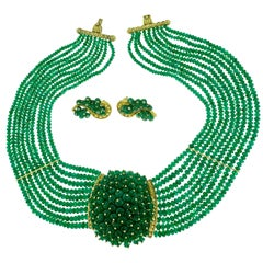 650 Carat Emerald Bead Necklace and Earring Bridal Suite in 18 Karat Yellow Gold