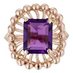 6.50 Carat Emerald Cut Amethyst Rose Gold Ring