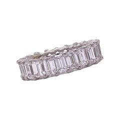 6.50 Carat Emerald Cut Diamond Eternity Band U Prong 18 Karat White Gold