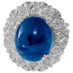 6.50 Carat Natural Blue Sapphire and Diamond Ring