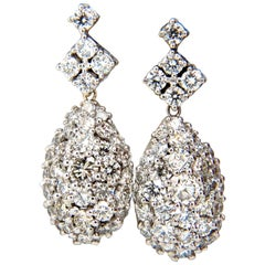 6.50 Carat Natural Round Diamonds Dangle Pear Cocktail Cluster Earrings