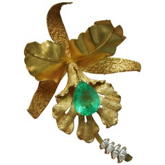 6.50 Carat Pear Cut Emerald 18 Karat Gold Orchid Pin Pendant