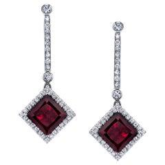 6.50 Carat Red Tourmaline and Diamond 18k White Gold Drop Earrings
