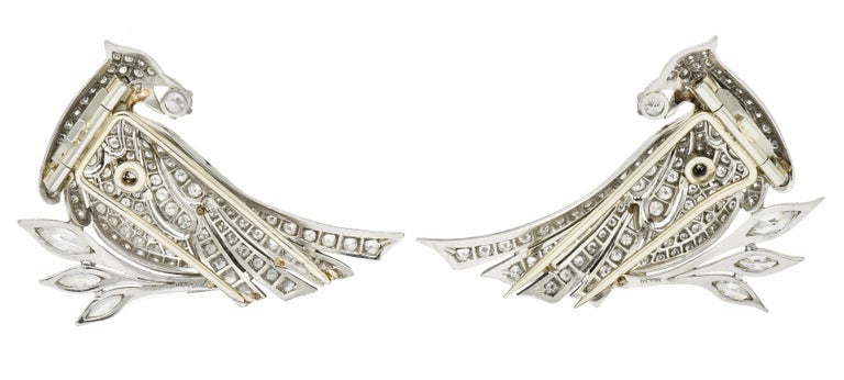 6.50 Carat Retro Diamond Platinum Quail Bird Double Clip Brooches For Sale 5