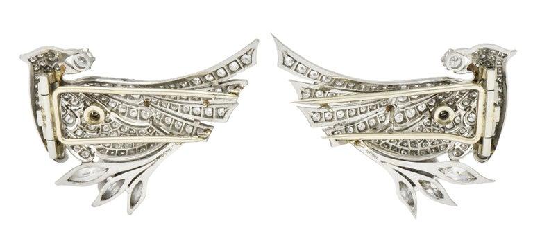 Old European Cut 6.50 Carat Retro Diamond Platinum Quail Bird Double Clip Brooches For Sale