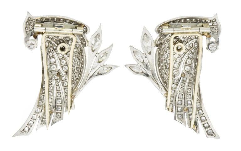 6.50 Carat Retro Diamond Platinum Quail Bird Double Clip Brooches In Excellent Condition For Sale In Philadelphia, PA
