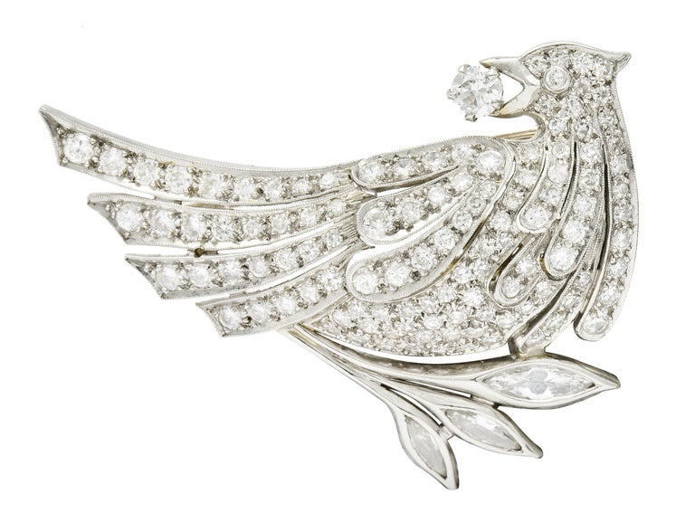 Women's or Men's 6.50 Carat Retro Diamond Platinum Quail Bird Double Clip Brooches For Sale