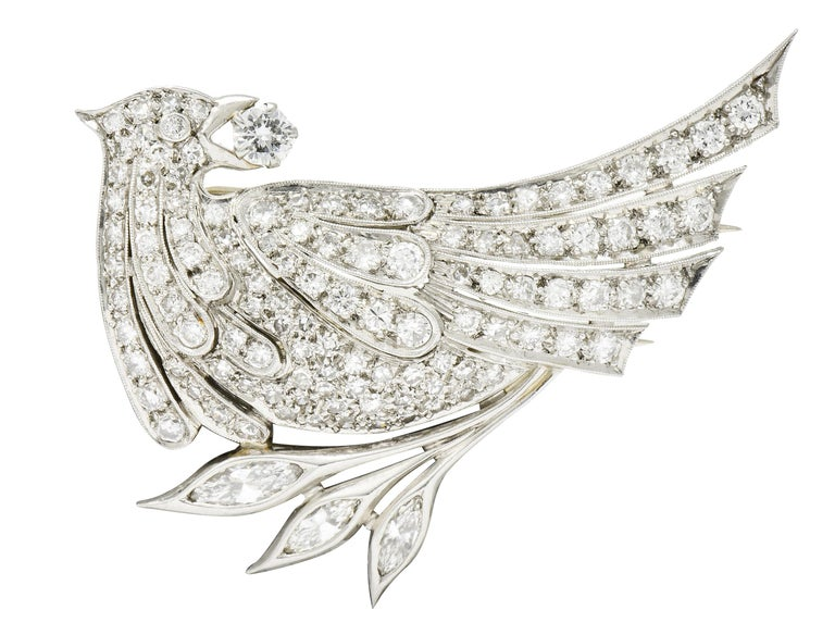 6.50 Carat Retro Diamond Platinum Quail Bird Double Clip Brooches For Sale 1