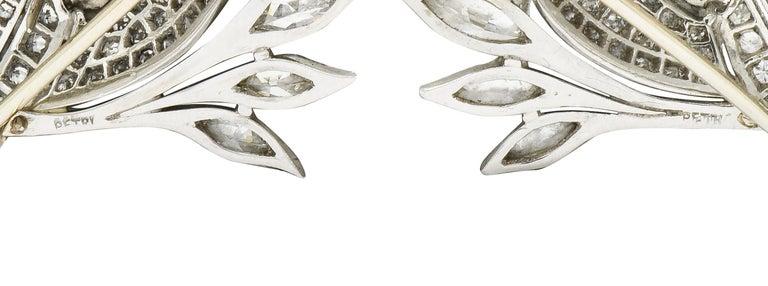6.50 Carat Retro Diamond Platinum Quail Bird Double Clip Brooches For Sale 2