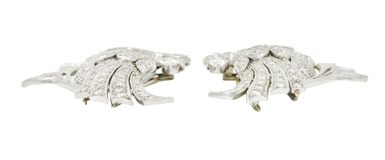 6.50 Carat Retro Diamond Platinum Quail Bird Double Clip Brooches For Sale 3
