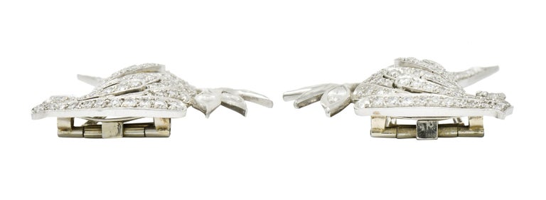6.50 Carat Retro Diamond Platinum Quail Bird Double Clip Brooches For Sale 4