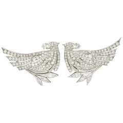 6.50 Carat Retro Diamond Platinum Quail Bird Double Clip Brooches