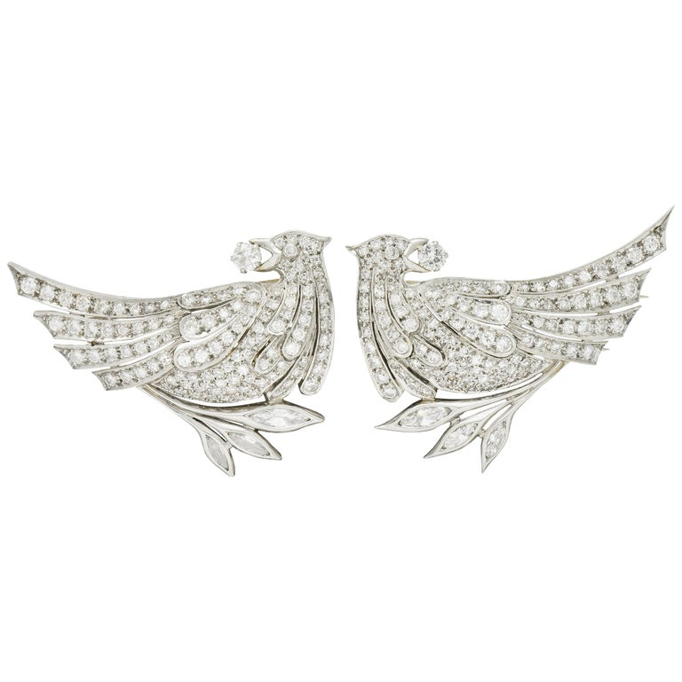 6.50 Carat Retro Diamond Platinum Quail Bird Double Clip Brooches For Sale