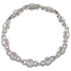 6.50 Carat Round Diamond 14 Karat White Gold Link Bracelet with Halo Stations