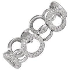 6.50 Carat Round Diamond O Link Bracelet 18 Karat White Gold