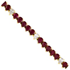 6.50 Carat Ruby and 1.10 Carat Diamond Bracelet