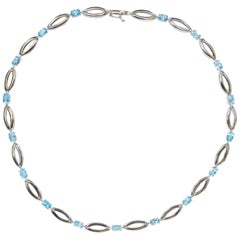 6.50 Carat Topaz White Gold Necklace