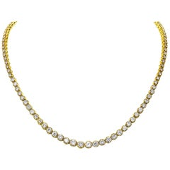 6.50 Carat Total Diamond Rivière Necklace in 18 Karat Yellow Gold