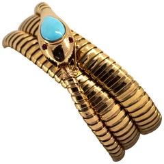 """6.50 Carat Turquoise 0.12 Carat Ruby Yellow Gold """"Snake"""" Bracelet"""