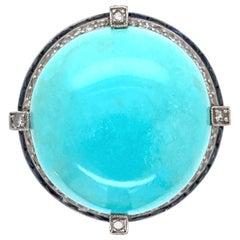 6.50 Carat Turquoise Diamond Sapphire Platinum Cocktail Ring Estate Fine Jewelry
