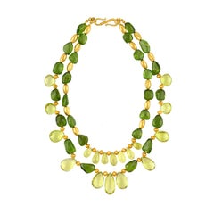 650.00 Carat Lime Citrine and Peridot Gold Two Strand Necklace