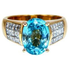 6.50 Carat Natural Blue Zircon Diamond Ring 18 Karat