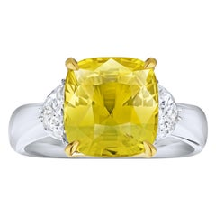 6.51 Carat Cushion Yellow Sapphire and Diamond Ring