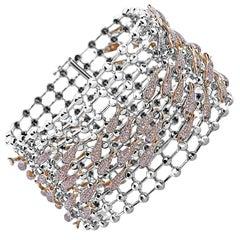 6.51 Carat / Natural Pink Diamonds / 18 K Rose and White Gold / Cuff Bracelet
