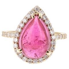 6.51 Carat Pink Tourmaline Diamond 14 Karat Yellow Gold Ring