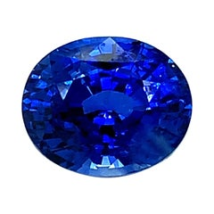 6.52 Carat Blue Sapphire Oval GIA Unset 3-Stone Engagement Ring Pendant Gemstone