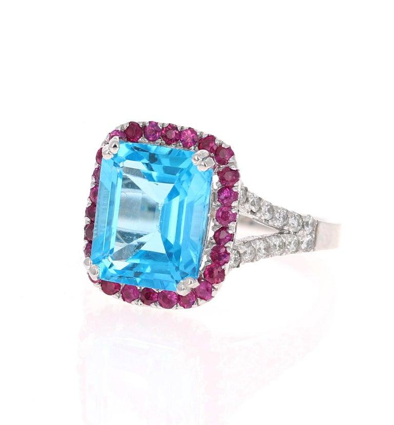 Modern 6.52 Carat Blue Topaz Pink Sapphire Diamond 14 Karat White Gold Engagement Ring For Sale