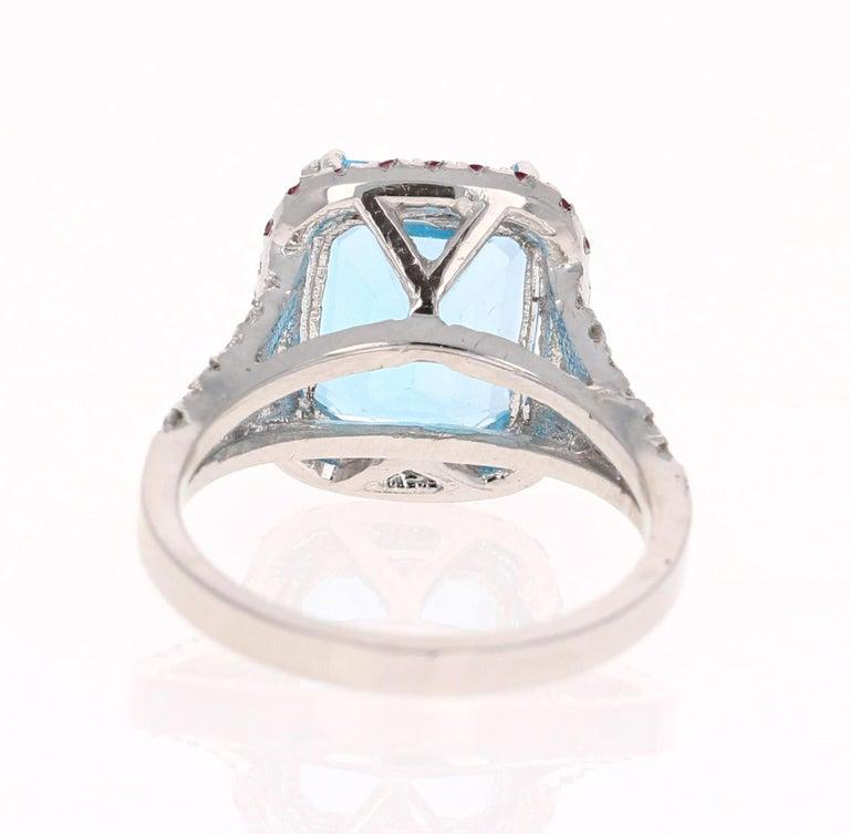 Emerald Cut 6.52 Carat Blue Topaz Pink Sapphire Diamond 14 Karat White Gold Engagement Ring For Sale