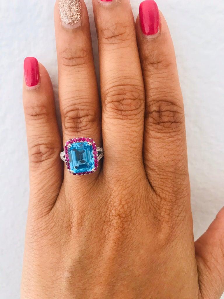 6.52 Carat Blue Topaz Pink Sapphire Diamond 14 Karat White Gold Engagement Ring For Sale 1