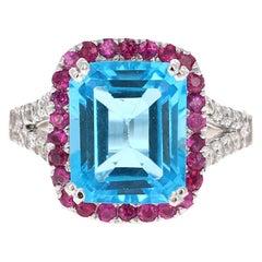 6.52 Carat Blue Topaz Pink Sapphire Diamond 14 Karat White Gold Engagement Ring