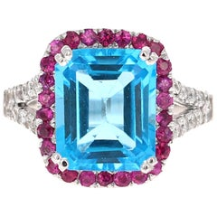 6.52 Carat Blue Topaz Pink Sapphire Diamond 14 Karat White Gold Engagement Ring