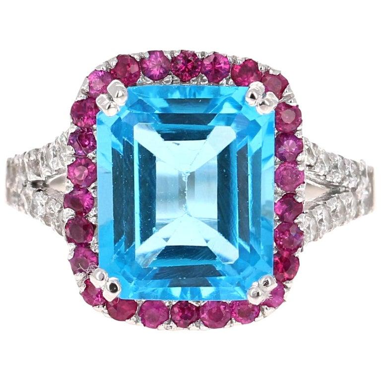 6.52 Carat Blue Topaz Pink Sapphire Diamond 14 Karat White Gold Engagement Ring For Sale