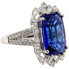 6.52 Carat Cushion Shaped Tanzanite Ring in 18 Karat White Gold with Diamonds