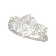 6.52 Carat Diamond and White Gold Trilogy Ring