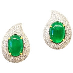 6.52 Carat Emerald 2 Carat Diamond Classic Earrings 18 Karat White Yellow Gold