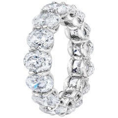 6.52 Carat Oval Diamond Eternity Band Ring