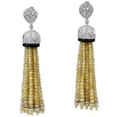 65.26 Carat Diamond 18 Karat Gold Drop Tassel Earrings