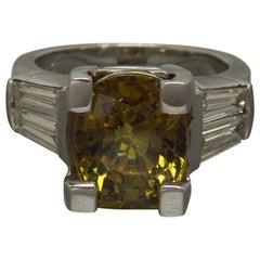 6.53 Carat GIA Alexandrite & Baguette 18 Karat Ring