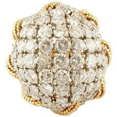 6.54 Carat Diamonds, 18 Karat Yellow Gold and Platinum Retro Dome Ring